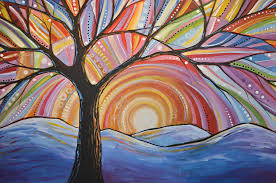 nature painting original abstract tree landscape painting mountain majesty by amy giacomelli