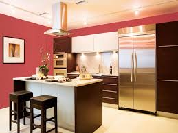 mauve wall color with stainless steel appliances for retro kitchen