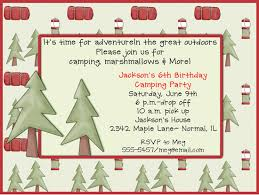 overnight camping birthday party invitations