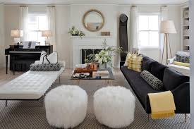 good looking pouf ottoman in living room eclectic with drywall
