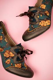 Shoo Olive 40s floral booties in olive