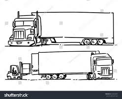 semi truck sketch illustration forklift loading stock vector