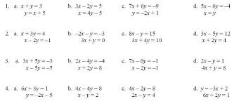 systems of linear equations worksheet worksheets