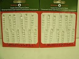 24 miniature clear plastic hanging icicle ornaments for feather