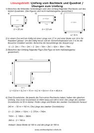 rechteck fläche berechnen matheaufgaben umfang und flächeninhalt