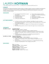 Resume For University Job by Best Professor Resume Example Livecareer