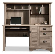 sauder harbor view bookcase with doors antique white harbor view desk with hutch u2013 salt oak the brick