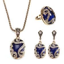 gold blue stone necklace images Jassy vintage gold earrings natural blue stone necklace crystal jpeg