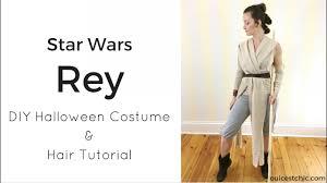 diy rey halloween costume star wars and hair tutorial youtube