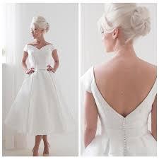 discount vintage satin short wedding dress off the shoulder tea