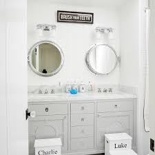 Step Stool For Kids Bathroom - white and gray kids bathroom with personalized step stools