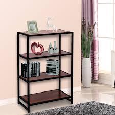 homcom elevated 4 tier wooden storage display shelf rack metal