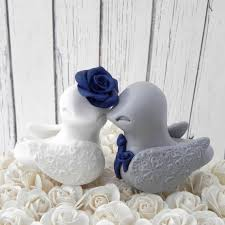 love birds wedding cake topper white grey and navy blue bride