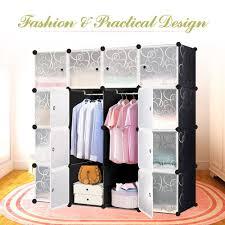 Clothes Closet Amazon Com Ikayaa Diy Clothes Closet Wardrobe Cabinet Cloth Shoes