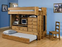 Bunk Bed With Storage And Desk Brown Wooden Loft Bed With Floating Desk Combined With