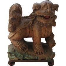 foo dog lion antique carved wood foo dog shi shi lion w cub from