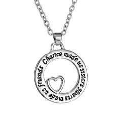 engraved necklaces aliexpress buy silver heart in circle plated friends
