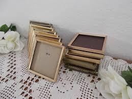 vintage gold metal picture frame 5 x 5 photo decoration midcentury