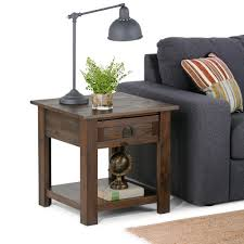 distressed wood end table simpli home monroe distressed charcoal brown storage end table