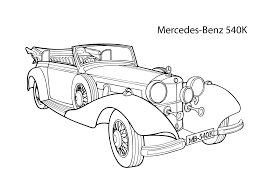kid car drawing super car mercedes benz 540k coloring page cool car printable