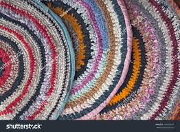 fabric ribbons handmade rugs crocheted colorful fabric ribbons stock photo