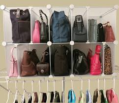 contemporary dressing room with purse cubby organizer and white