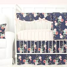 Baby Bedding Berkeley U0027s Navy U0026 Blush Floral Bumperless Crib Bedding Caden Lane