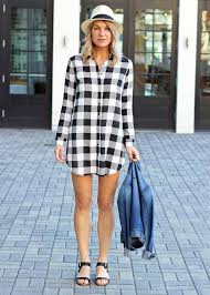 black and white plaid shirt dress bb from hand in pocket