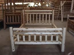 Log Queen Bed Frame White Cedar Log Double Top Rail Bed