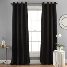 living room black polyester solid semi opaque curtains snice teel