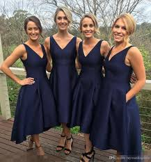 2017 garden short high low bridesmaid dresses with pockets navy