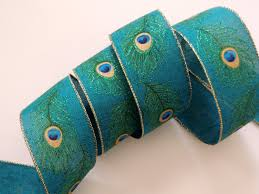 wired ribbon 2 5 peacock feathers wired ribbon fabric peacock wedding