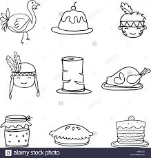 set of sketch doodle thanksgiving vector stock vector