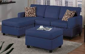 Small Sectional Sofa Bed Navy Microfiber Plush Casual Small Sectional Sofa W Ottoman