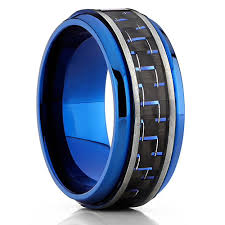 mens blue wedding bands 8mm unisex or men s titanium wedding band ring blue tone with