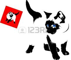 siamese cat silhouette on a white background royalty free cliparts