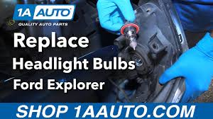 how to replace install headlight housing bulbs 2006 ford explorer