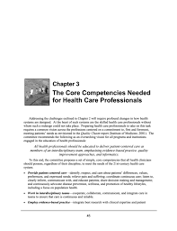 list of core strengths 3 the core competencies needed for health care professionals