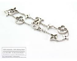 monogram charm louis vuitton 18k white gold monogram charm bracelet