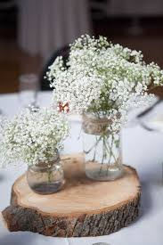 baby breath centerpieces rustic jar baby s breath and wood centerpieces