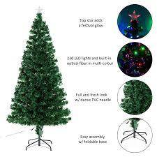 homcom 6ft pre lit led optical fiber tree artificial
