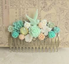 Shabby Chic Wedding Accessories by Shabby Chic Hair Comb Mint Green Turquoise Peach Pink Spring