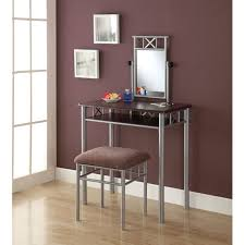 Silver Mirrored Bedroom Furniture Cast Iron Vanity Table Sets Combined Dark Plum Painted Wall With