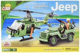 military jeep amazon com cobi small army jeep willys mb with helicopter toys