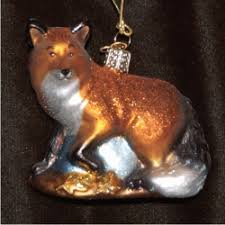 fox glass personalized ornaments by