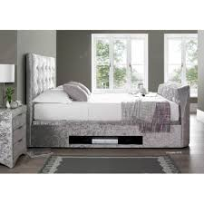 Tv Storage Bed Frame Crushed Silver Fabric Tv Ottoman Storage 5ft King Size Bed