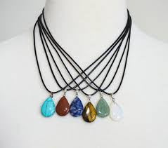 necklace natural stone images Natural stone teardrop pendant necklace set four seasons accessories jpg