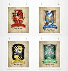 harry potter decor hogwarts house crests poster harry potter art print gryffindor
