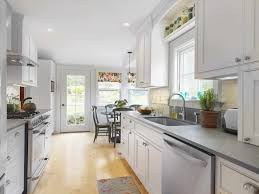 small farmhouse galley design white marble kitchen simple white