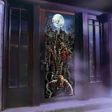 Halloween Window Lights Decorations by Zombie Light And Sound Door Panel Halloween Decoration Walmart Com